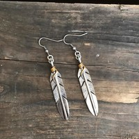 Hippie Chic Silver Feather Earrings