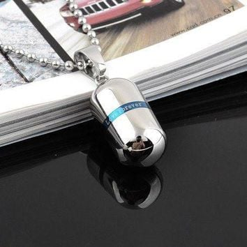 Blue Pill - Stainless Steel Necklace