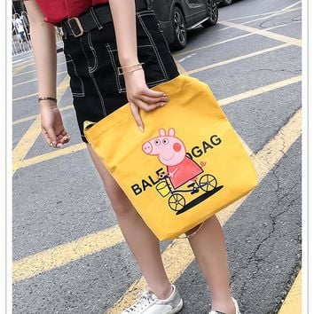 Women's  pigpepe canvas bag female messenger bag ins cloth bag  001