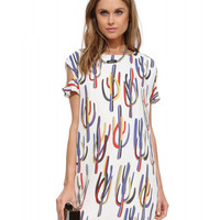 Cactus Print Short Sleeve Mini Shift Dress