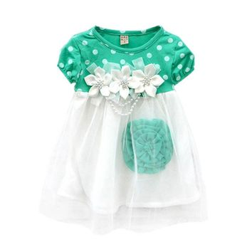 2017 Cute Summer Children Clothing Ball Gown Kids Baby Girls Polka Dots Tutu Dresses 4 Colors Vestido Infantil