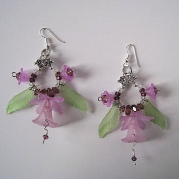 Lavender Floral Chandelier Earrings with Acrylic Components and Swarovski Crystal Beaded Accents with Silver-toned hardware