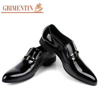 GRIMENTIN fashion Italian business patent genuine leather formal men dress shoes black wedding shoes men flats luxury for male