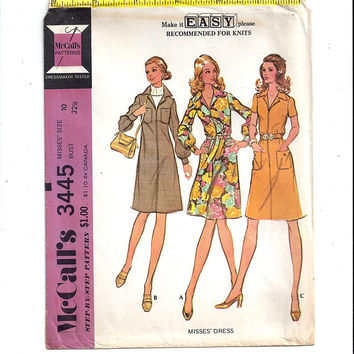 McCall's 3445 Pattern for Misses' Dress with Front Zipper for Knits, Size 10, From 1972, Make It Easy, Home Sewing Pattern, Vintage Pattern