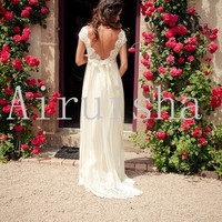 Gorgeous lace bodice sexy backless with silk ciffon skirt and sash wedding dress