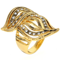 Dear Deer Yellow Gold Plated Cubic Zirconia Intricate Filigree Double Leaf Cocktail Ring