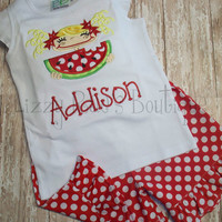 Watermelon girl boutique outfit- Summer applique shirt- Watermelon applique shirt with ruffle shorts- sizes 6M-8