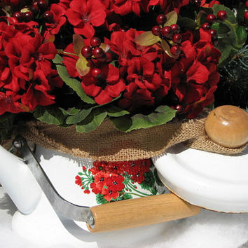 Vintage Teapot Centerpiece Red Geraniums Red Berries Porcelain Teapot Burlap Bow Wedding Centerpiece Christmas Centerpiece Winter Decor