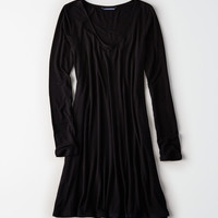 AE Long Sleeve Knit Swing Dress, Black