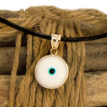 Evil Eye Necklace, White Evil Eye Pendant, Silver Eye Charm Necklace, Greek Mati