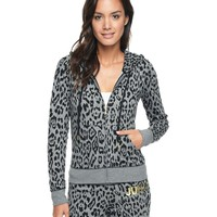 Pitch Black Flowing Leopard Naughty Juicy Glamour Soft Originalinal Jacket by Juicy Couture,
