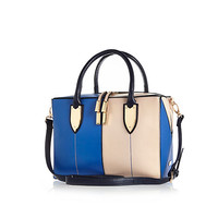 River Island Womens Blue leather-look split front boxy bowler bag