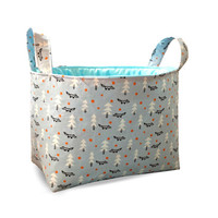 Fabric Storage Organiser Bin Basket - Scandinavian Woodland Fox in Pale Blue