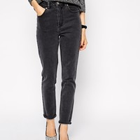 ASOS Farleigh High Waist Slim Mom Jeans In Furnace Gray