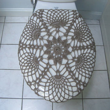 Crochet Toilet Seat Cover or Tank Lid Cover  - moonstone (TSC9M or TTL9M)