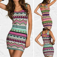 New Fashion Women Sexy Vintage Printed Clubwear Tank Dress Casual Dress dint = 1946793028
