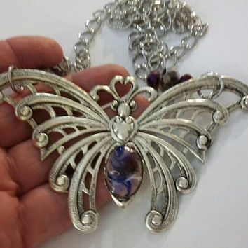 Butterfly Necklace, Large Victorian Necklace, Purple Gothic Butterfly Necklace,  Victorian Butterfly with a Purple Copper Enamel Stone