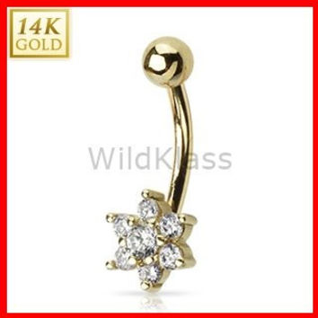 14k Solid Gold Ring 14g Belly Button Ring Flower 14k Yellow Gold 14g Navel Ring Navel Jewelry Belly Button Jewelry