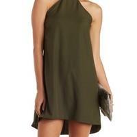 Olive High-Low Turtleneck Shift Dress by Charlotte Russe