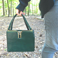 Vintage Forest Green Purse 1960s / 1970s Handbag - Medium Size - Forest with Golden Hardware Metal Zipper - Mid-Century
