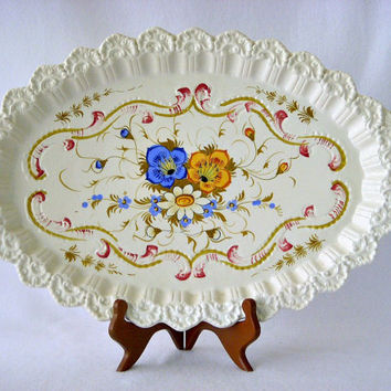 Ardalt Italy Majolica Ceramic Pottery Tray, Hand Painted Floral Rococo Design, 2 Handled Tray