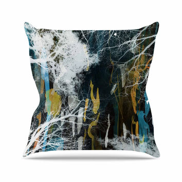 "Iris Lehnhardt ""Tree Of Life"" Abstract Blue Outdoor Throw Pillow"