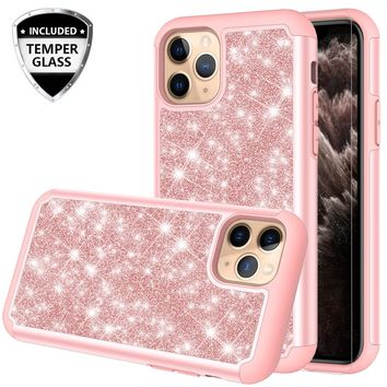 Apple iPhone 11 Pro Case, Glitter Bling Heavy Duty Shock Proof Hybrid Case with [HD Screen Protector] Dual Layer Protective Phone Case Cover for Apple iPhone 11 Pro - Rose Gold