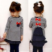 Korea Fashion Kid Baby Girl Cute Bowknot Stripe Long Sleeve T-shirt