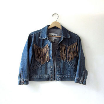 Vintage 80s jean jacket. Leather Fringe Jacket. Cropped Jean Jacket