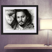 Johnny Depp art PRINT, printed pencil drawing, GICLEE PRINT, movie actor fanart fine print, Johnny poster, Jack Sparrow, black white decor