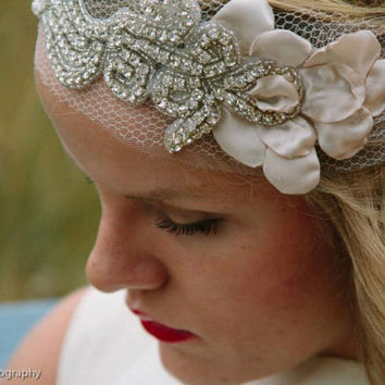 Blush & Diamonds Petal Headband -20s style bandeau rhinestone headband