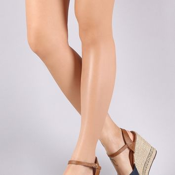 Canvas Peep Toe Hardware Trim Espadrille Platform Wedge