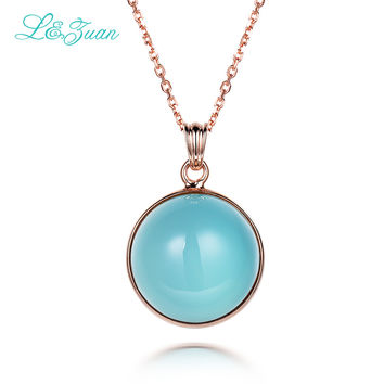 l&zuan Blue Stone Necklace Natural Chalcedony Luxury 925 Sterling Silver Jewelry Birthday Gift for Girls 2017 New Women Pendants