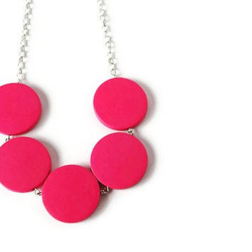 Neon Pink Necklace. Neon Jewelry. Chunky Wood Necklace. Bright Color, Candy Pink. Perfect Summer Fashion. Ready to ship.