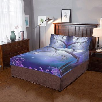 Purple meadow with a fairy tree 3-Pieces Bedding Set