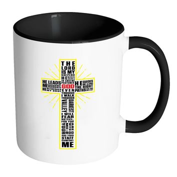 Psalm 23 Mug The Lord Is My Shepherd Prayer White 11oz Accent Coffee Mugs