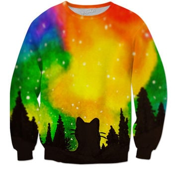 Forest Cat Galaxy Sweater