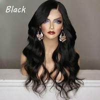 Fashion Side Bang Fluffy Mixed Color Long Wavy High Temperature Wig Women Synthetic Wig