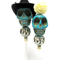 Country Love Day of the Dead Cake Topper Giant Sugar Skull Gothic Wedding Pin Bride & Groom Rockabilly Sweeties