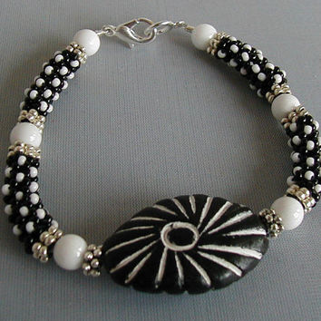 Black and White Chenille Stitch Beadwoven Tribal Bracelet