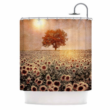 "Viviana Gonzalez ""Lone Tree & Sunflowers Field"" Sunny Nature Shower Curtain"