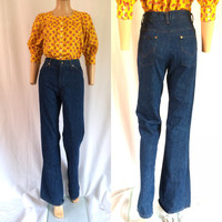 1970s H.I.S. Denim Bootcut Jeans High Waist 28""
