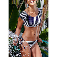 Sexy Scoop Collar Short Sleeve Striped Zippered Two-Piece Women's Swimsuit