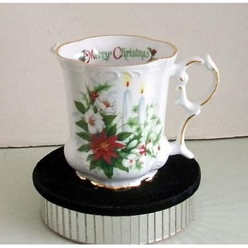 Set of 2 Victorian Tankards Floral Mugs - Christmas Candles