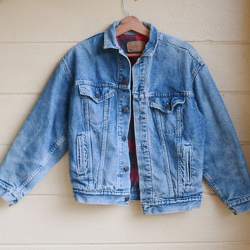 Vintage Levis Denim Jean Jacket Plaid flannel lined Acid Wash Denim Jacket