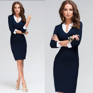 Womens Elegant, Modest, Slim, Sheath Pencil Dress