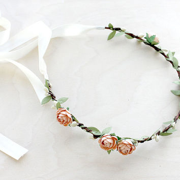 Peach Rose Bohemian Halo. Floral Crown, Flower Crown. Woodland, Wedding. Fall, Autumn, Hair Accessories, Boho, Bridal, Bridesmaids