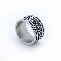 Stainless Steel Fashion Stripe Mature Man-sized Rings