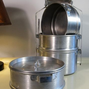 Old Tiffin Carriers in Aluminium with wooden handle, O.P.C. Manufacturer, Made in Italy, 1970s