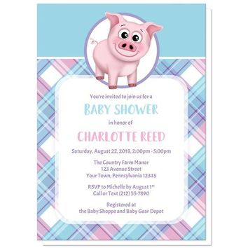 Happy Pig Pink Blue and Purple Plaid Baby Shower Invitations